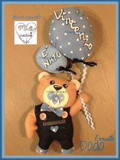 Fiocco nascita con Dodo l'orsetto e palloncini