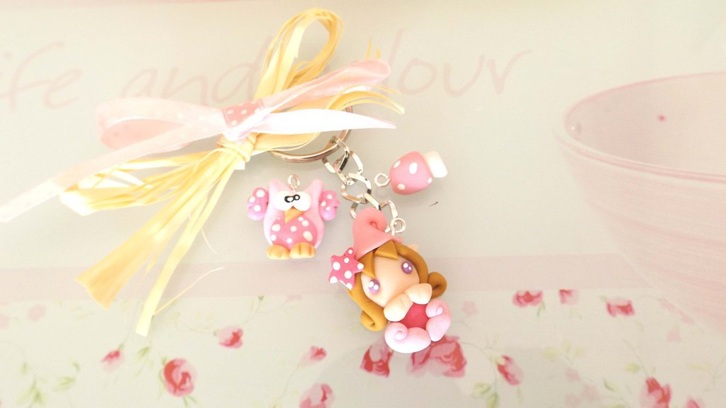 PORTACHIAVI  fimo - i FOLLETTI DISPETTOSI - porta fortuna  multi charms compleanno idea regalo ROSA SCURO