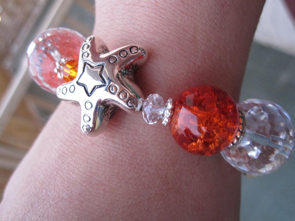 Bracciale elastico pietre arancioni e trasparenti