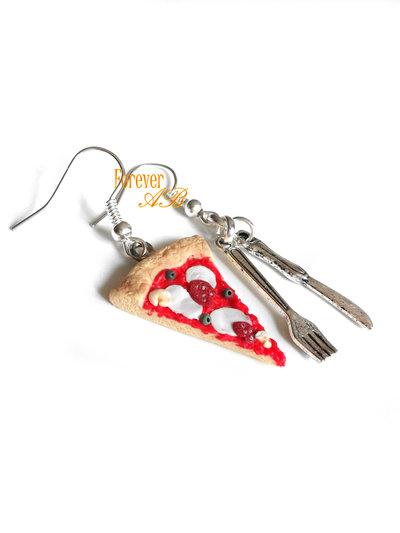 Orecchini Pizza e posate idea regalo donna ragazza bambina fimo