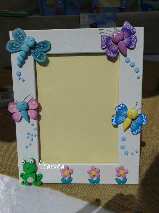 Portafoto bambina con farfalline