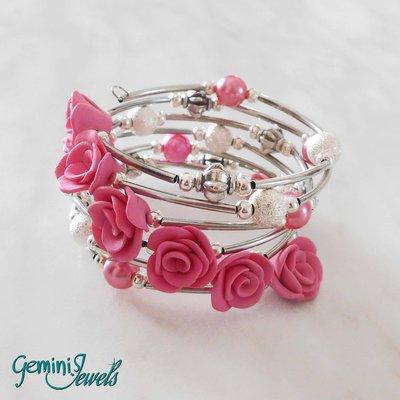 Bracciale armonico con roselline in fimo rosa