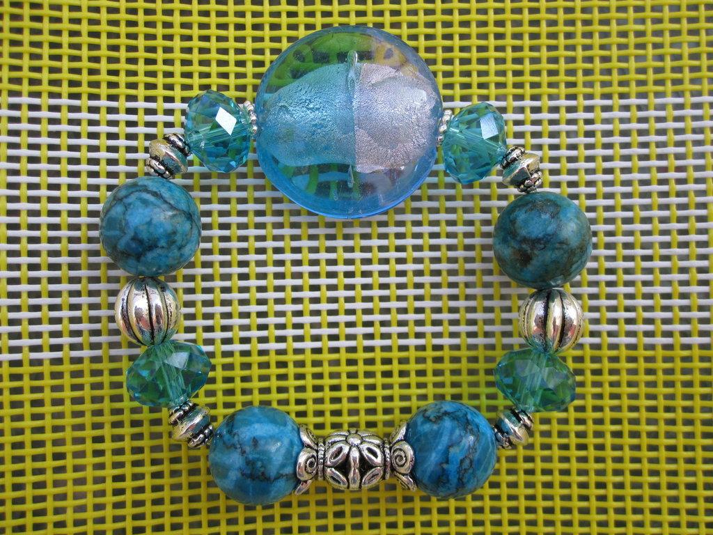 Bracciale pietra con foglia argento azzurro