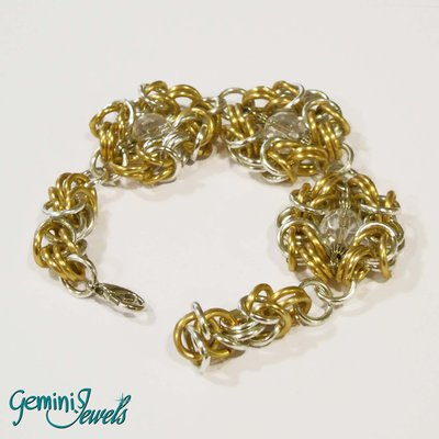 Bracciale chainmaille silver gold con perle