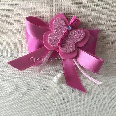 Farfalla fermacapelli in gomma crepla rosa e glitter