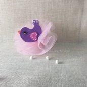 Pulcino in gomma crepla in viola e rosa con mollettina