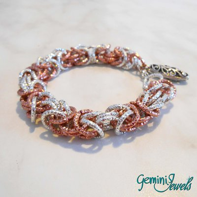 Bracciale chainmaille bizantino silver - rosa antico