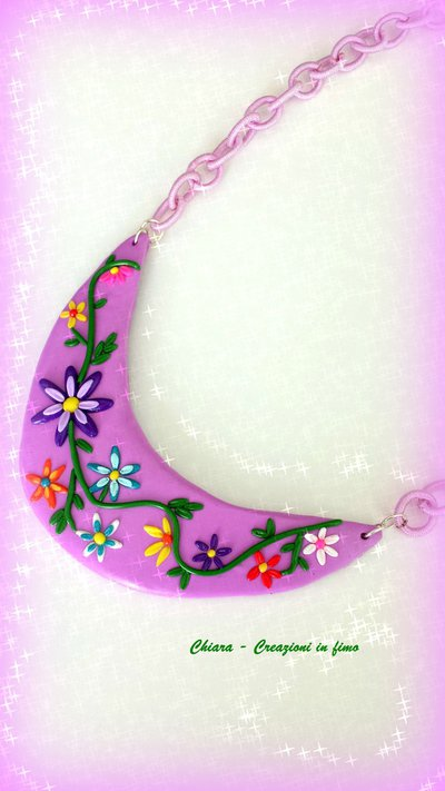 Collana in fimo handmade elegante con fiori in rilievo idea regalo donna idea regalo Festa della mamma