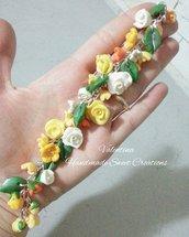 Bracciale fiori e rose- toni giallo