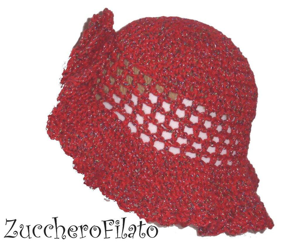 Summer Cappello bimba crochet in cotone rosso, a falda larga con fiore