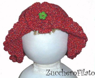 Summer Cappello Bimba Crochet In Cotone Rosso A Falda Larga Con Fi