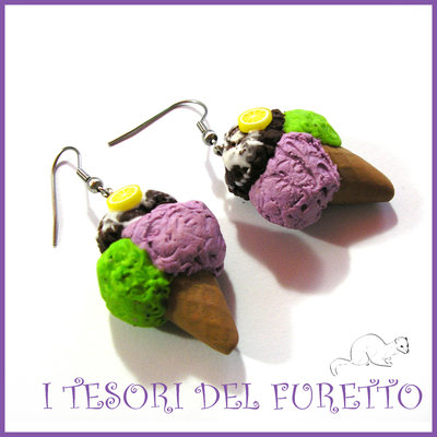 """Orecchini """"Viola menta cioccolato""""  estate 2016 idea regalo Natale bambina ragazza kawaii compleanno"""