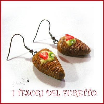 """Orecchini Serie """" Patisserie """" Coda d'aragosta pasticcini dolcetti fimo cernit realistico miniatura idea regalo donna bambina"""