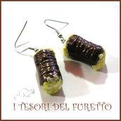 """Orecchini Serie """" Patisserie """"  Cannolo al cioccoalto pasticcini dolcetti fimo cernit realistico miniatura idea regalo donna bambina"""