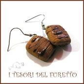 """Orecchini Serie """" Patisserie """" Saccottino  al cioccolato pasticcini dolcetti fimo cernit realistico miniatura idea regalo donna bambina"""