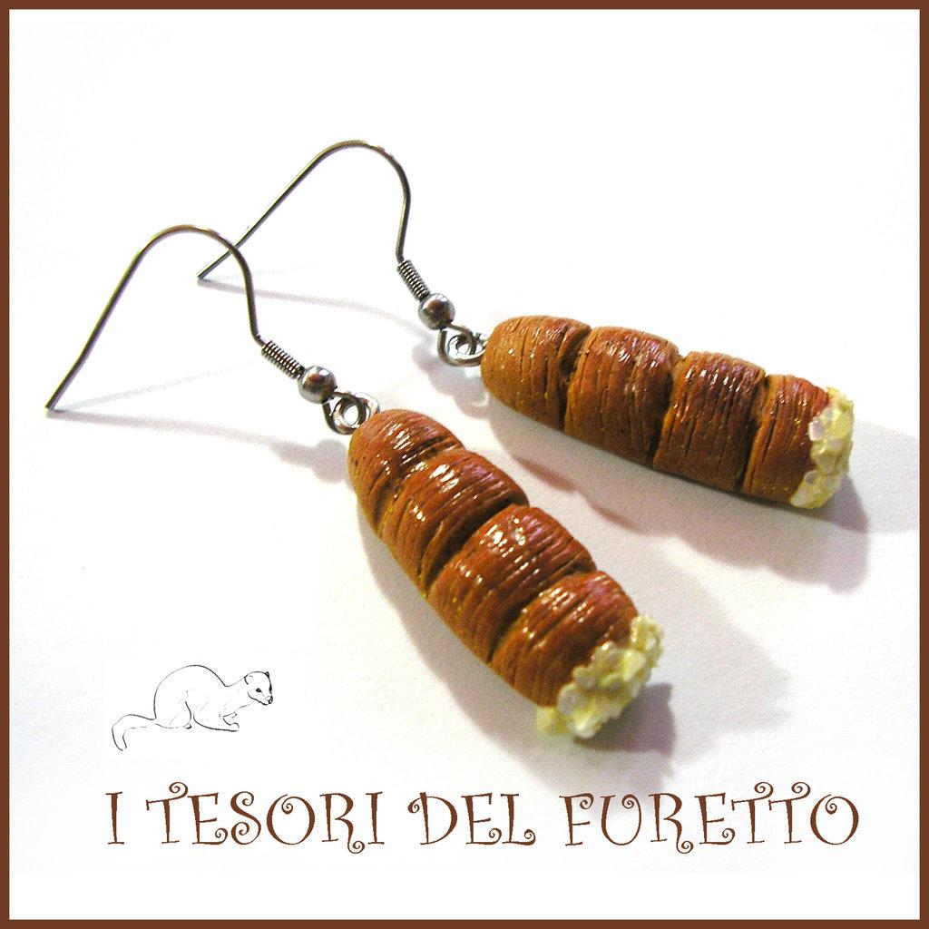 """Orecchini Serie """" Patisserie """" Cannolo zabaione  pasticcini dolcetti fimo cernit realistico miniatura idea regalo donna bambina"""