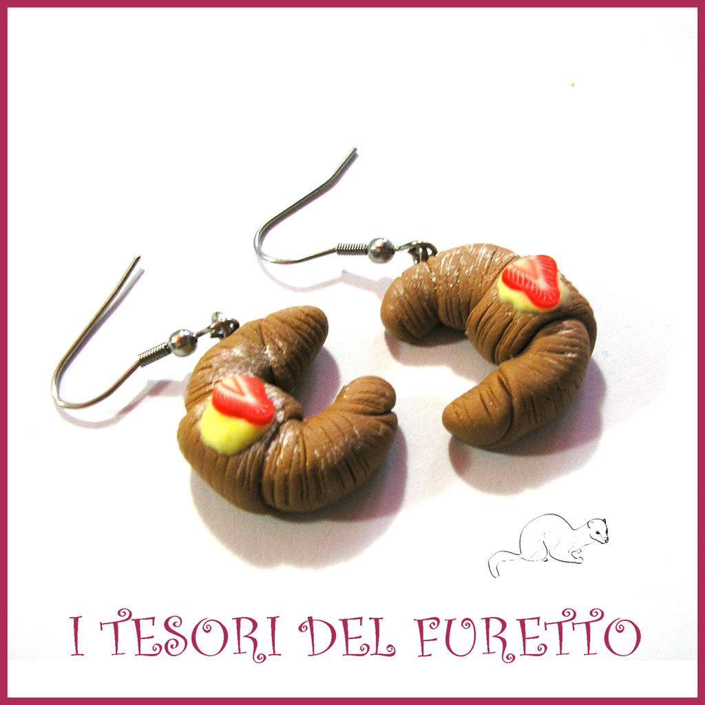 """Orecchini Serie """" Patisserie """" Croissant alla crema pasticcini dolcetti fimo cernit realistico miniatura idea regalo donna bambina"""