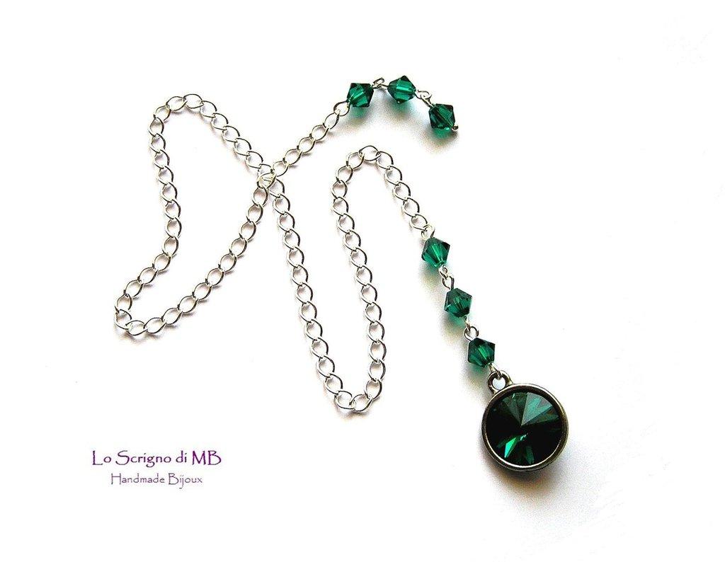 Segnalibro catenella cristallo verde smeraldo