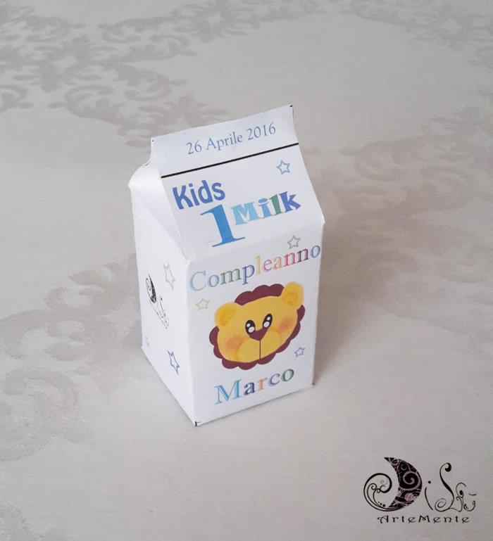 Portaconfetti gadget compleanno milk box Kids Milk personalizzabile animaletti