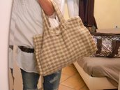 Maxibag in tweed beige
