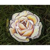 pietra di fiume dipinta con colori acrilici - ROSA - idea regalo - collezionismo