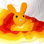 Copertina neonato tonda coniglietto tonalità dell'arancione