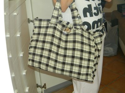 Maxibag in tweed marrone