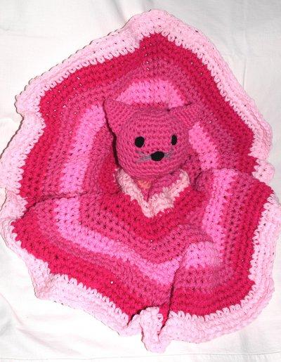 Copertina tonda neonato con gattino rosa all uncinetto