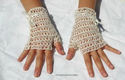 Accessori sposa - guanti senza dita ad uncinetto color crema - matrimonio romantico
