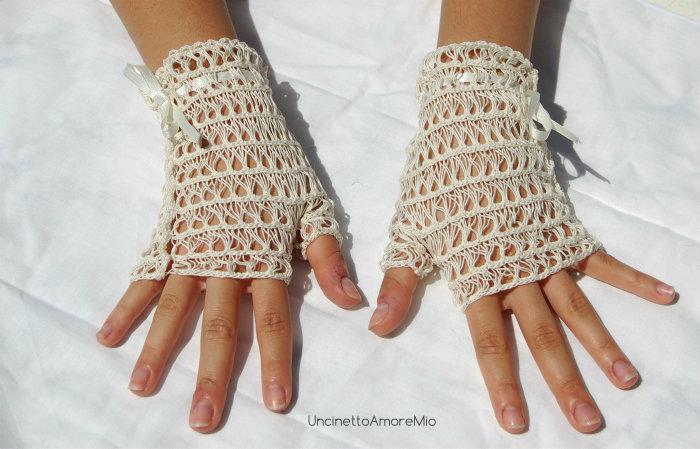 get cheap 310f3 6930d Accessori sposa - guanti senza dita ad uncinetto color crema - matrimonio  romantico