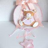 Fiocco nascita coccarda per bambina rosa con orsetto e stellina♡