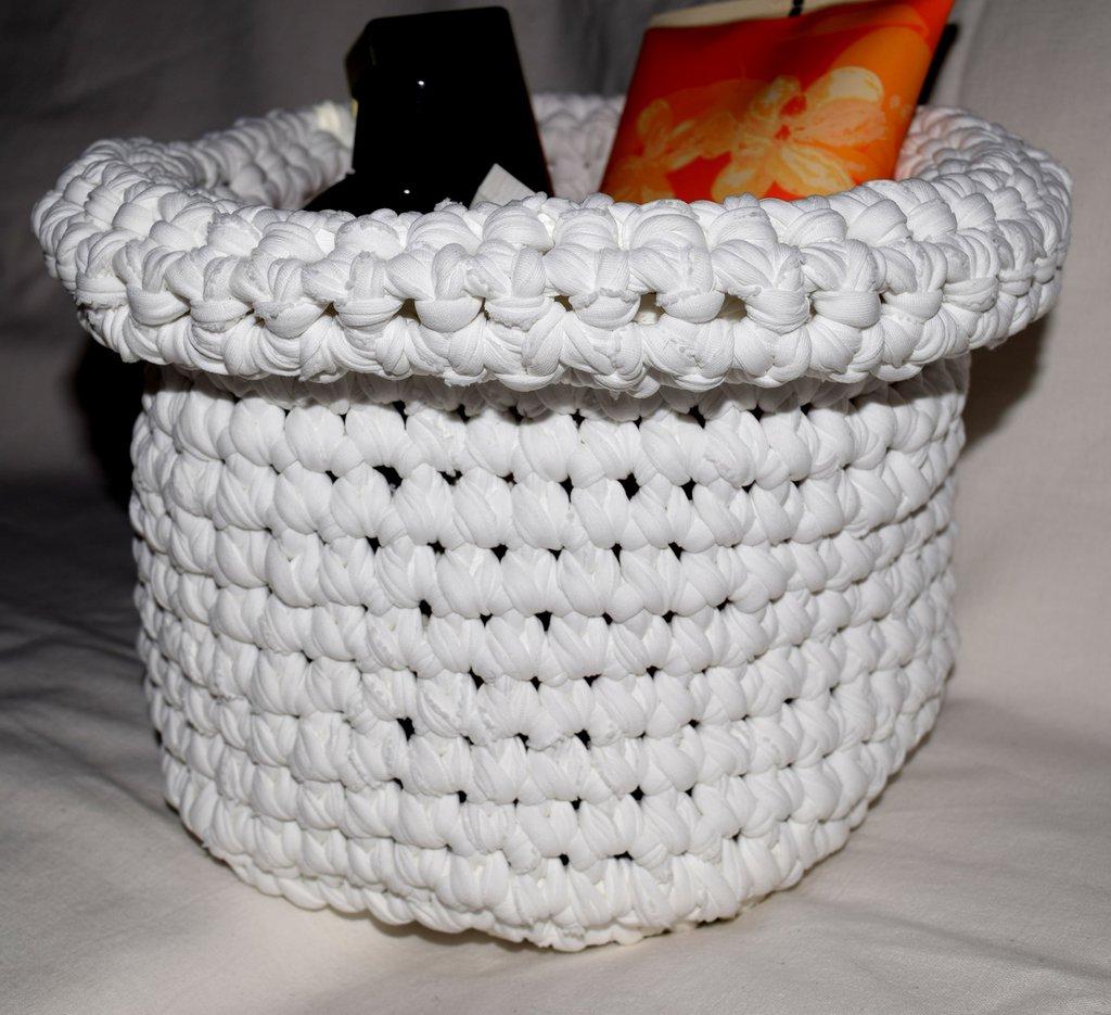 Cestino portaoggetti bianco in fettuccia di lycra