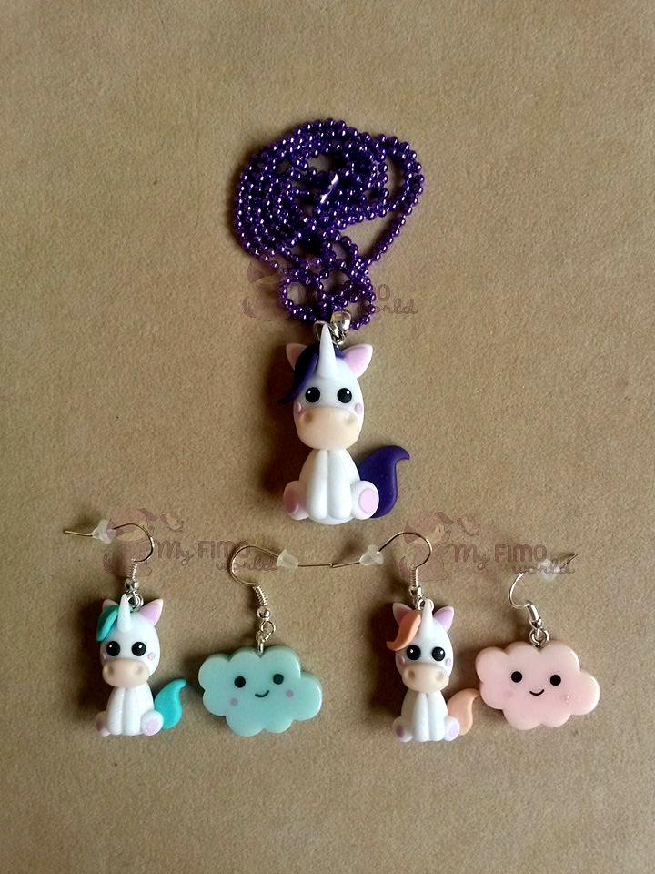 Collana e orecchini pendenti con unicorni fimo