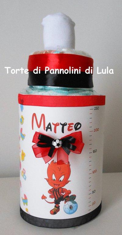 Torta di Pannolini Pampers Biberon Tifoso Calcio- idea regalo, originale ed utile, per nascite, battesimi