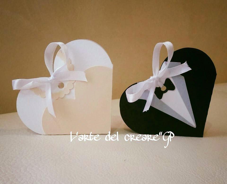 Scatola bomboniera (0,80pz)sacchetto porta-confetti matrimonio nozze sposi cuore
