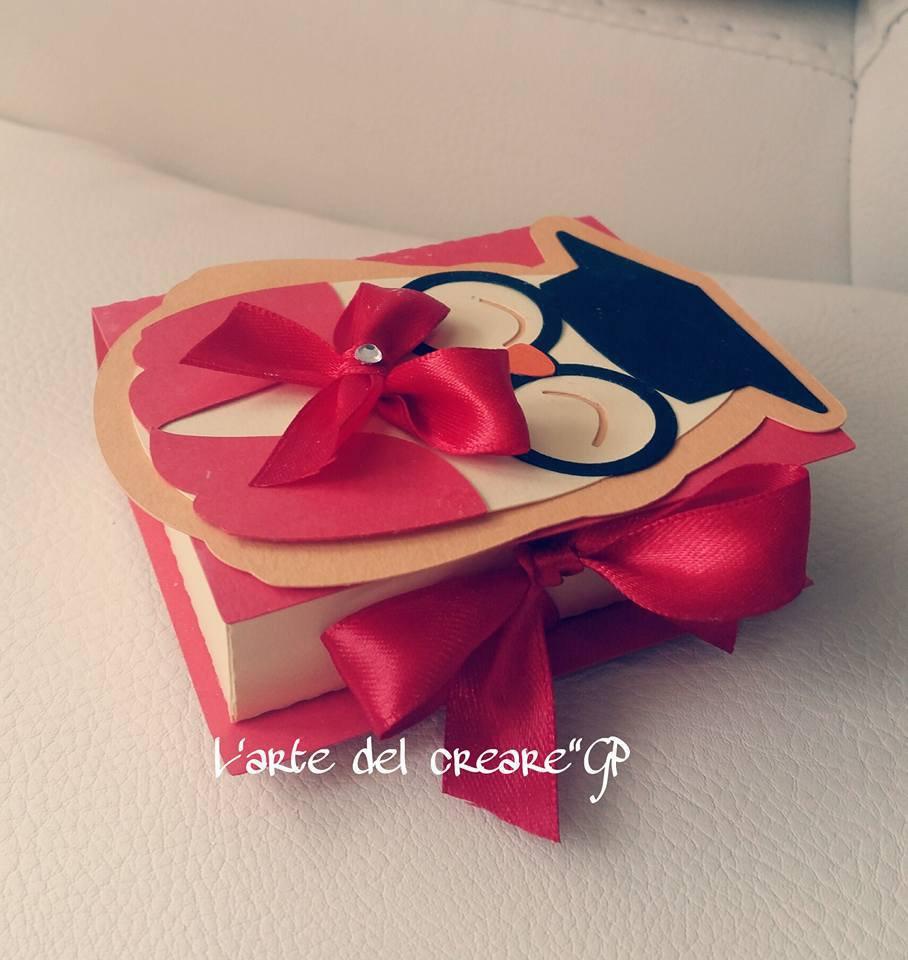 Scatola porta confetti bomboniera sacchetto laurea gufo libro (0,90 al pezzo)