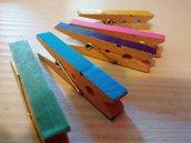 10 Mollette in legno decorative con Washi tape