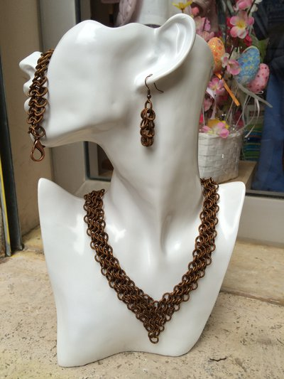 Parure chainmail color bronzo
