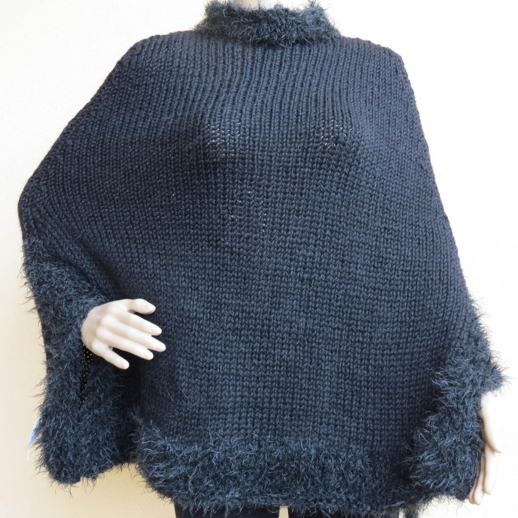 mantella lana nera con bordo