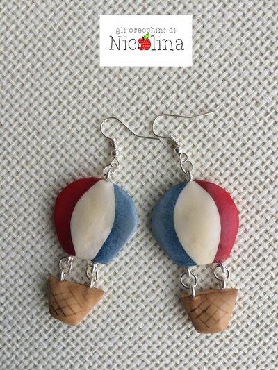 Orecchini mongolfiere country blu-bianco-rosso