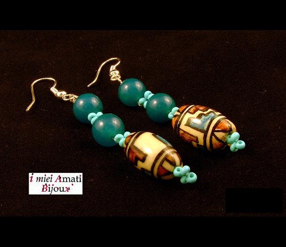 Orecchini Perle Peruviane e calcedonio