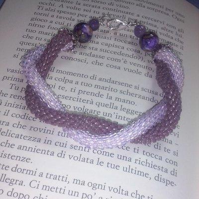 Bracciale due fili perline toho beads crochet