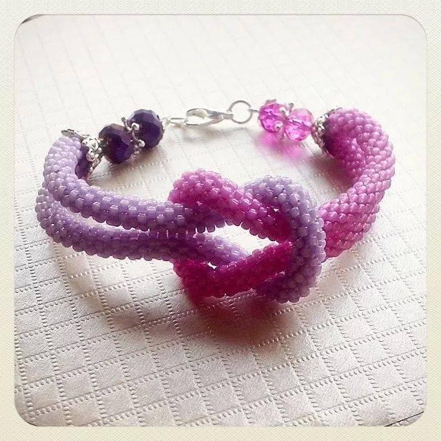 Bracciale due fili con nodo e mezzi cristalli beads crochet