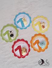 Card Art etichette compleanno colorate, arcobaleno, personalizzabili animaletti
