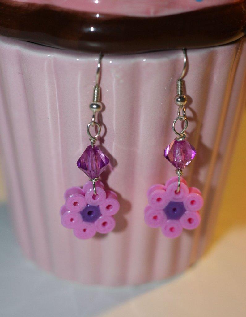 orecchini fiore hama beads