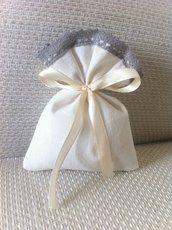 Sacchetti-Bomboniere matrimonio in misto lino bianco e pizzo grigio- Dimensione 12x10 cm - Varieta' di opzioni colore - Rustic chic