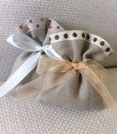 Sacchetti-Bomboniere matrimonio in lino e pizzo - Dimensione 12x10 cm-Rustic chic-cuori-pois
