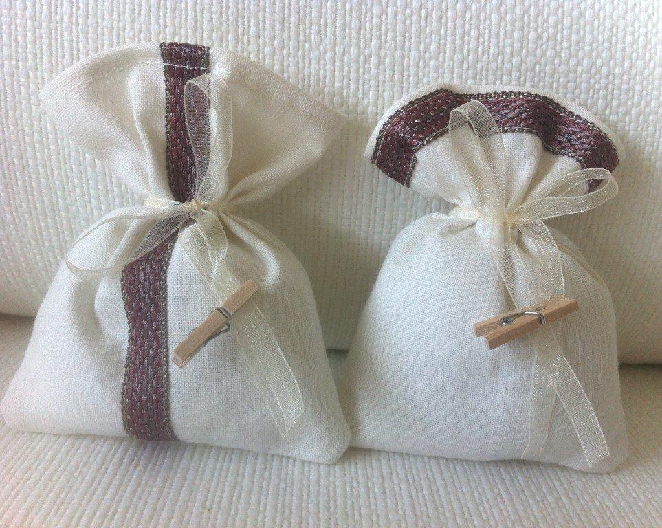 Sacchetti-Bomboniere matrimonio in misto lino bianco e pizzo- Dimensione 12x10 cm - Varieta' di opzioni colore - Rustic chic