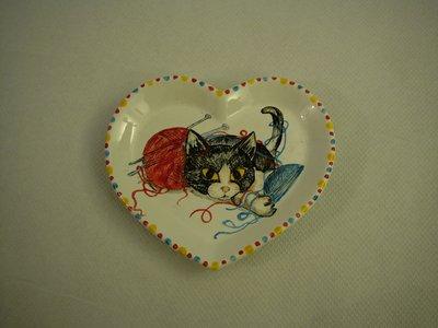 Piatto gatto cuoricino