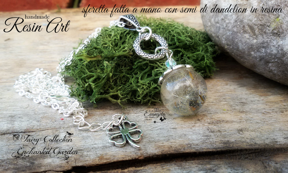 collana dandelion tarassaco resina gioielli botanici